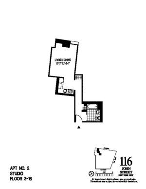 floorplan for 116 John Street #1502