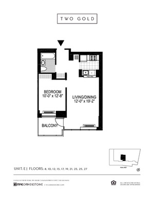 floorplan for 2 Gold Street #19E