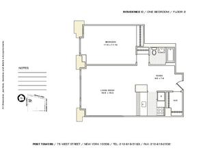 floorplan for 75 West Street #2C