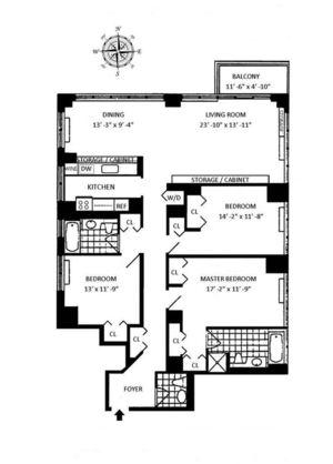 floorplan for 422 East 72nd Street #27A