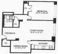 floorplan for 30 Park Avenue #10E