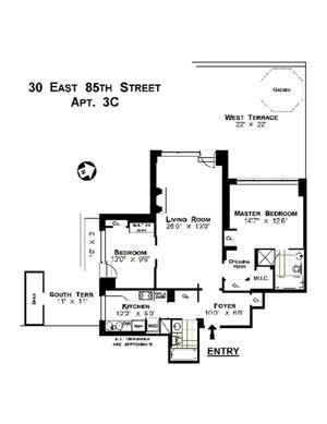 floorplan for 30 East 85th Street #3C
