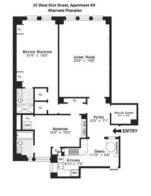 floorplan for 15 West 81st Street #4H