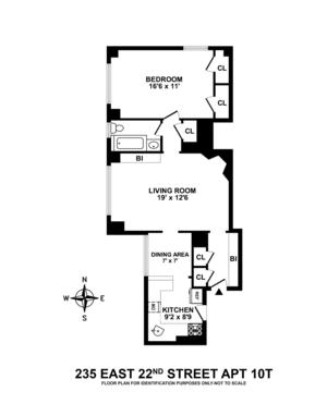 floorplan for 235 East 22nd Street #10T