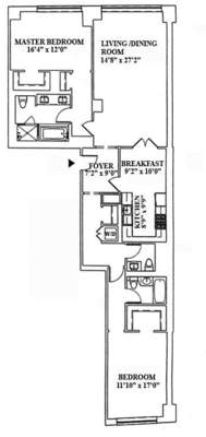 floorplan for 15 Central Park West #25C