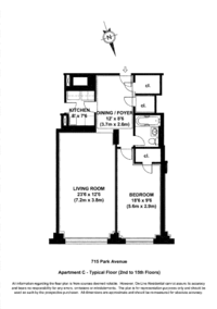 floorplan for 715 Park Avenue #11C