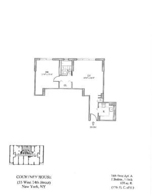 floorplan for 55 West 14th Street #18A