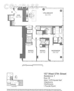 floorplan for 157 W 57th Street #39F