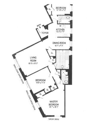 floorplan for 210 Riverside Drive #7