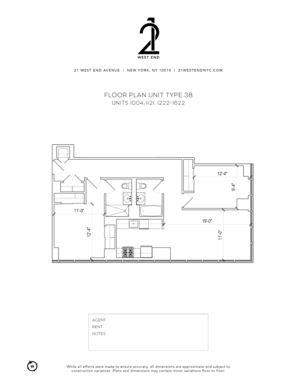 floorplan for 21 West End Avenue #1322