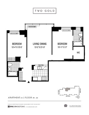 floorplan for 2 Gold Street #2113