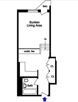 floorplan for 211 Thompson Street #G5