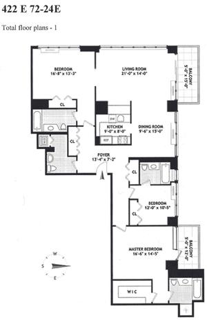 floorplan for 422 East 72nd Street #24E