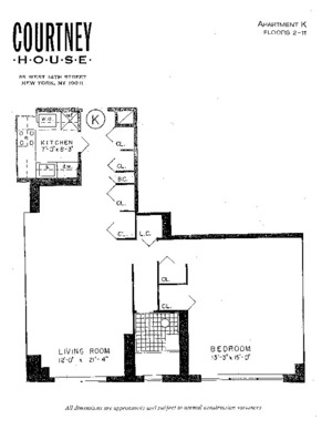 floorplan for 55 West 14th Street #7K