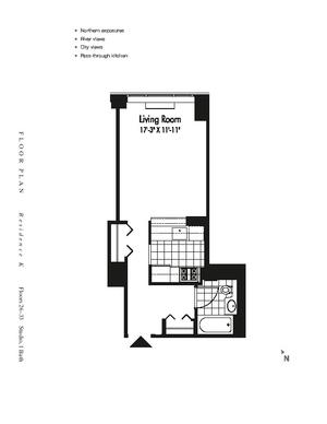 floorplan for 601 West 57th Street #31K