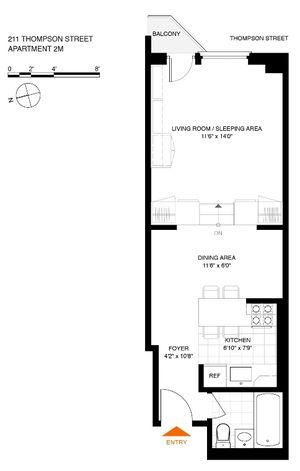floorplan for 211 Thompson Street #2M