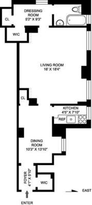 floorplan for 235 East 22nd Street #1A