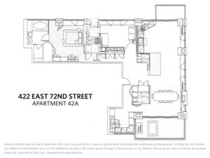 floorplan for 422 East 72nd Street #42A
