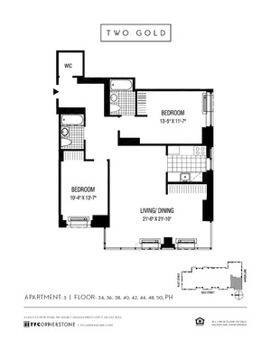 floorplan for 2 Gold Street #3403