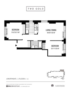 floorplan for 2 Gold Street #1001