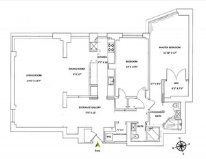 floorplan for 715 Park Avenue #17B