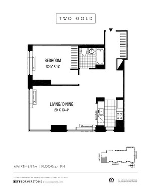 floorplan for 2 Gold Street #3609
