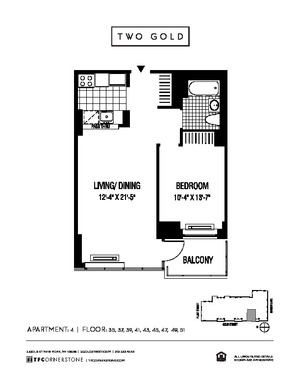 floorplan for 2 Gold Street #3904