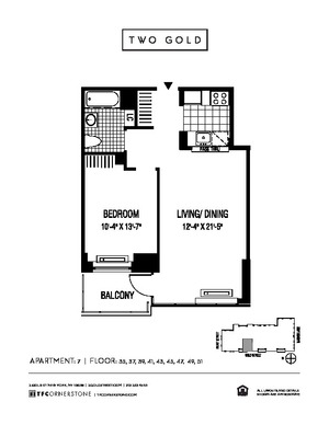 floorplan for 2 Gold Street #4507