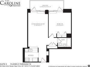 floorplan for 60 West 23rd Street #1109