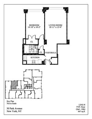 floorplan for 30 Park Avenue #9N