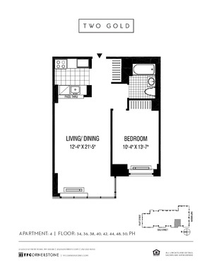 floorplan for 2 Gold Street #3604