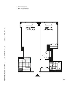 floorplan for 601 West 57th Street #6N