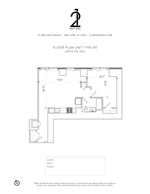 floorplan for 21 West End Avenue #1101