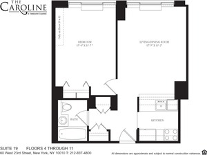 floorplan for 60 West 23rd Street #819