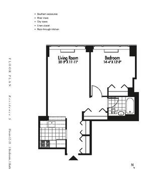 floorplan for 601 West 57th Street #17S