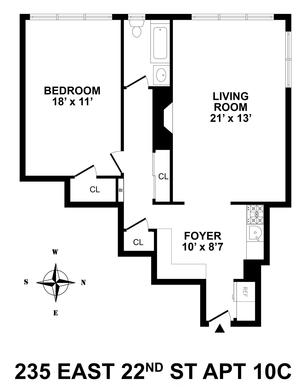 floorplan for 235 East 22nd Street #10C