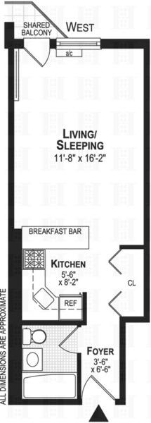 floorplan for 211 Thompson Street #3O