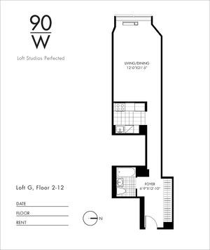 floorplan for 90 Washington Street #4G