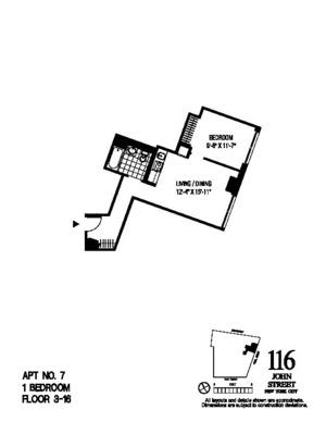 floorplan for 116 John Street #607
