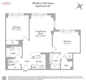 floorplan for 305 West 16th Street #4E