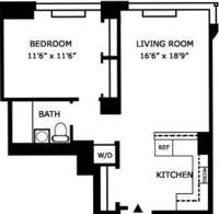 floorplan for 635 West 42nd Street #11E