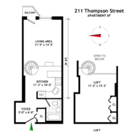 floorplan for 211 Thompson Street #6F